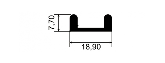 TRILHO INFERIOR P/ VITRINE