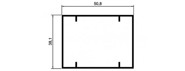 TUBO RETANGULAR 38,10X50,80