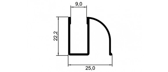 TRILHO INFERIOR P/BOX VIDRO